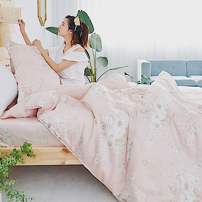 BUHO 100%TENCEL純天絲單人床包+雙人舖棉兩用被床包組(馥蕾香郁)