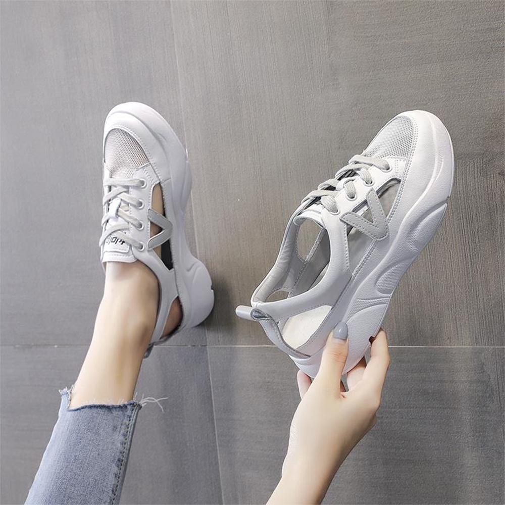 LN  現+預 韓版側邊簍空透氣小白鞋(休閒鞋/平板鞋) (灰色)