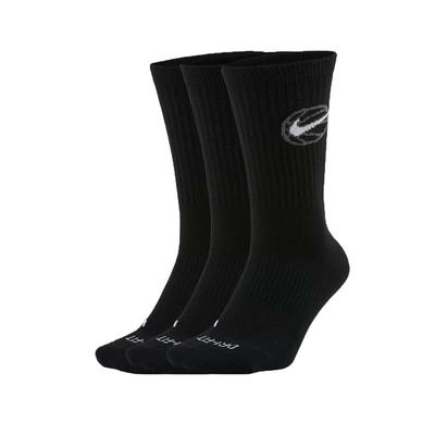 NIKE 男襪子-長襪 休閒 籃球 訓練 DRI-FIT 三入 DA2123-010 黑白灰