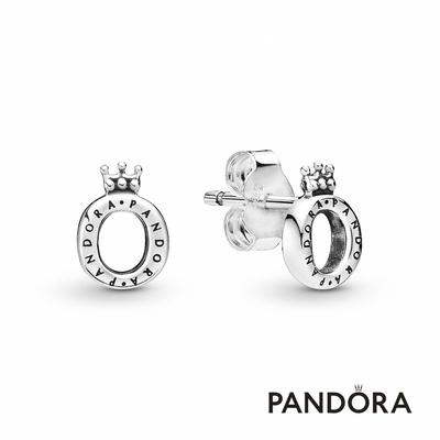 【Pandora官方直營】光亮 O 型皇冠針式耳環