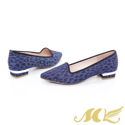 MK-YAHOO獨家款-野性豹紋牛仔布尖頭中低跟鞋-藍色 (兩色)