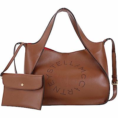 Stella McCartney 字母穿孔皮革手提肩背托特包(咖啡色)