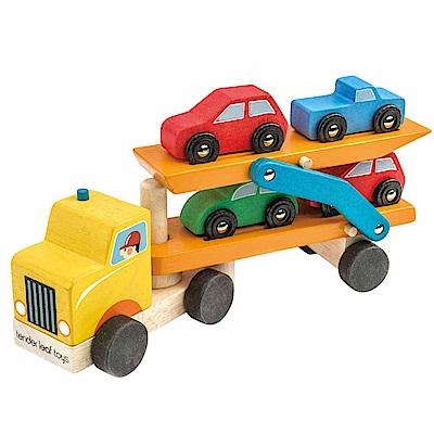Tender Leaf Toys木製家家酒玩具-雙層運輸拖車/小汽車玩具組