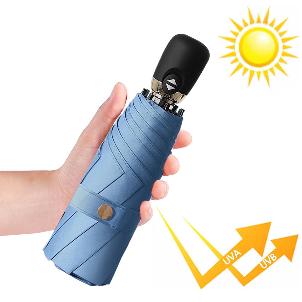 幸福揚邑  鈦防曬抗UV降溫UPF50+全自動8骨晴雨口袋迷你五折疊傘-魅藍