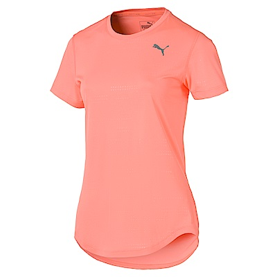 PUMA-女性慢跑系列經典印花短袖T恤-蜜桃紅-歐規