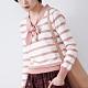慢 生活 學院風打結領針織衫- 粉色
