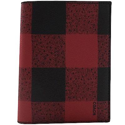COACH 格紋圖樣PVC簡約護照夾(紅黑)