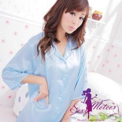 襯衫睡衣 全尺碼 男友襯衫式緞面連身睡衣(純潔天藍) Sexy Meteor
