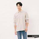 H:CONNECT 韓國品牌 男裝 - 雙色直條紋襯衫-卡其