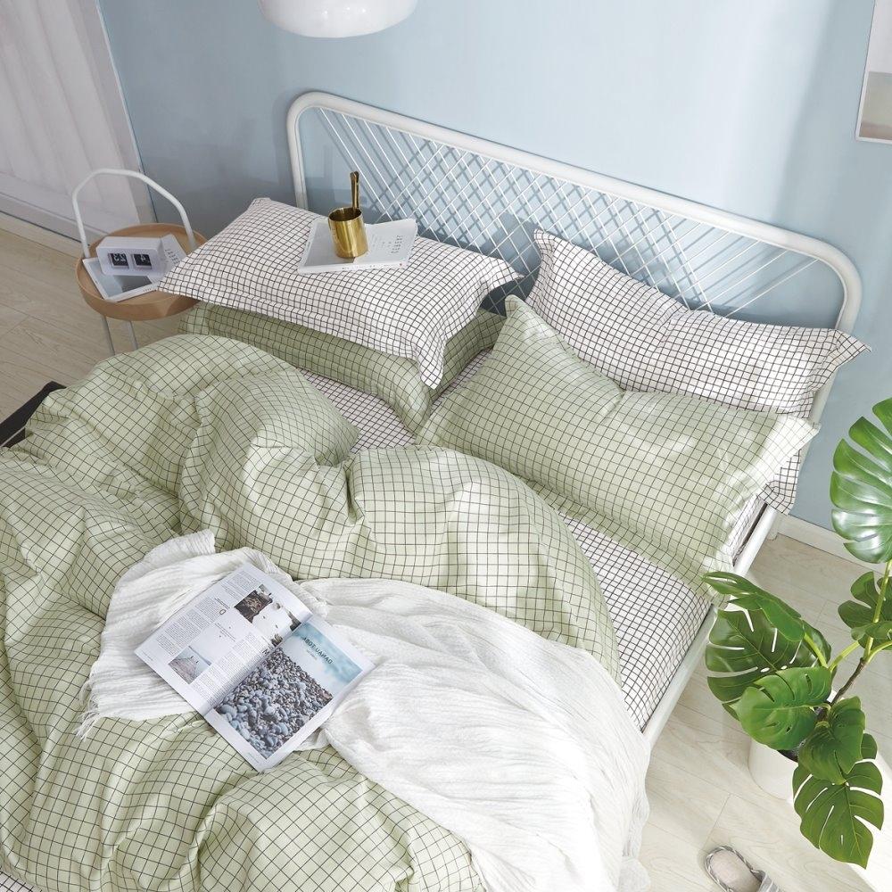 La Lune  MIT頂級精梳棉200織紗雙人床包枕套3件組 薄荷方格