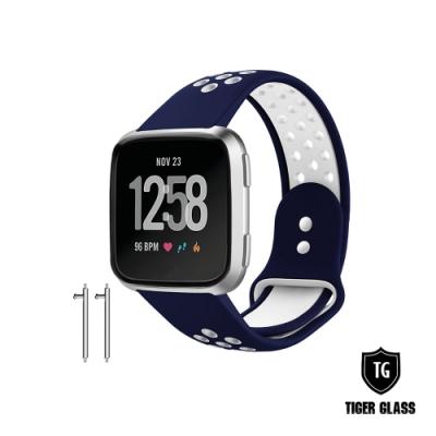 T.G Fitbit Versa 2 撞色運動款透氣錶帶(矽膠錶帶 運動錶帶)