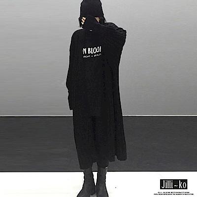 Jilli-ko 燈籠袖長款開衫針織外套-深綠/黑