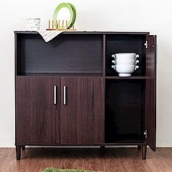 《HOPMA》DIY巧收北歐三門四格廚房櫃-寬91 x深40 x高87cm