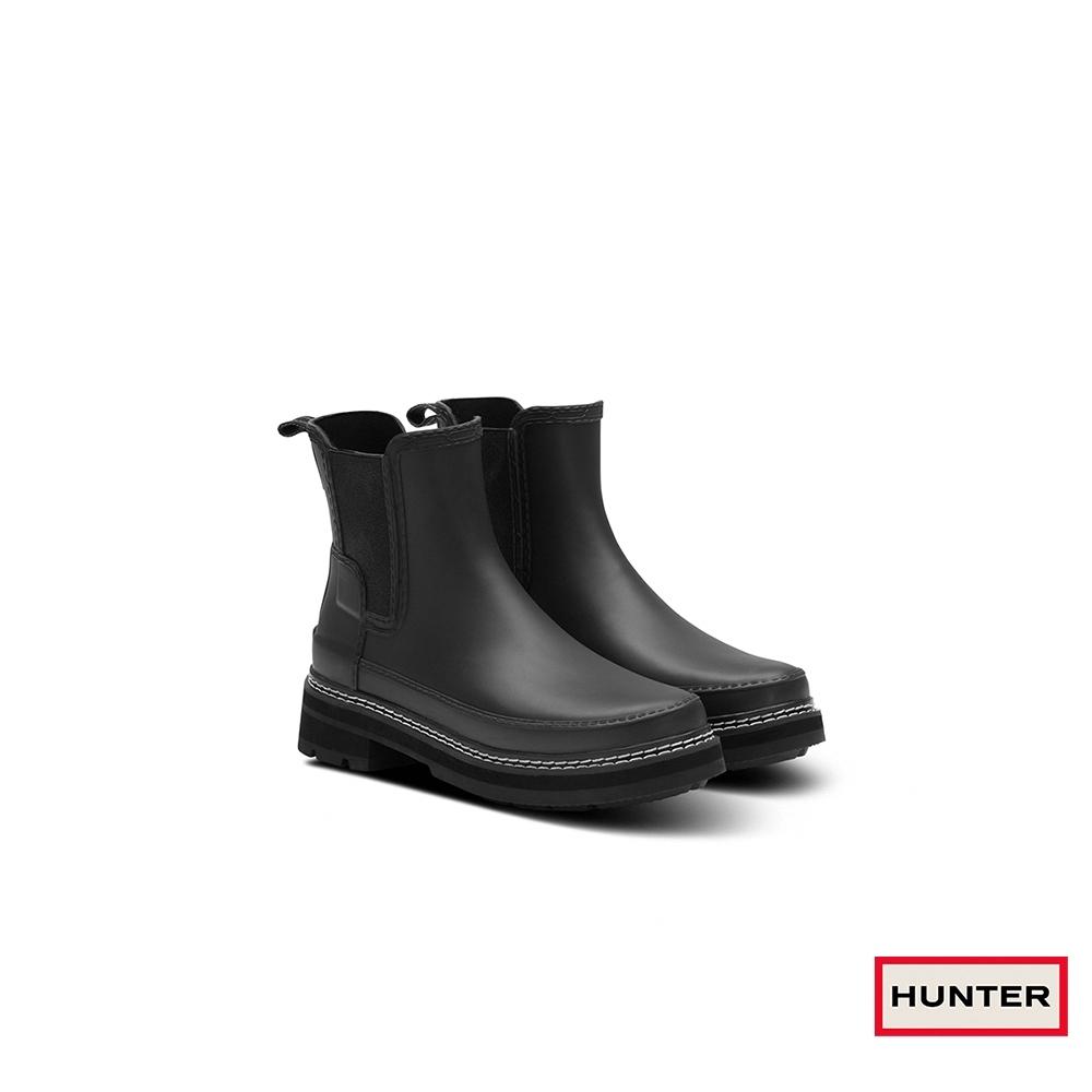 HUNTER -   女鞋 - Refined粗針縫切爾西霧面踝靴-黑