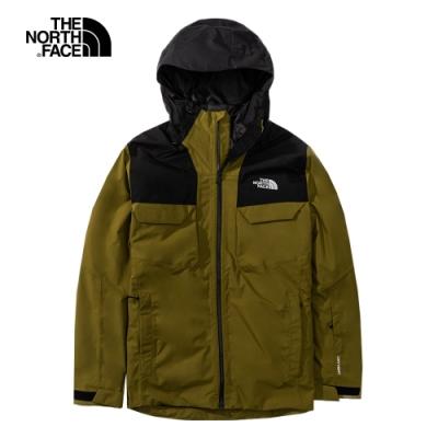 The North Face北面男款綠色防水透氣滑雪三合一外套 3M4M5TU