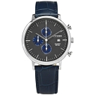 CITIZEN 三眼計時 礦石強化玻璃 日期視窗 日本機芯 真皮手錶-灰x藍/41mm