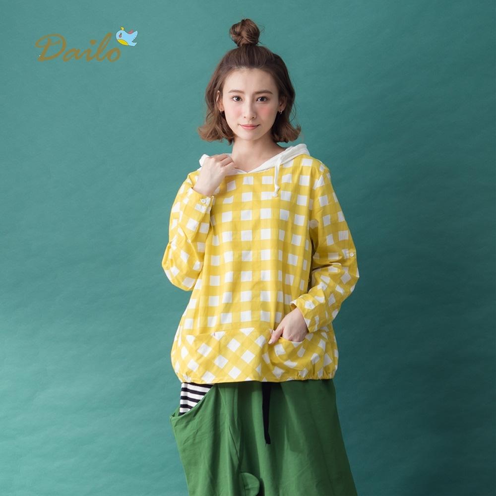【Dailo】格紋棉質連帽-襯衫(三色/版型寬鬆)