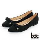 【bac】復古風潮 - 絨感尖頭蝴蝶結平底鞋-黑