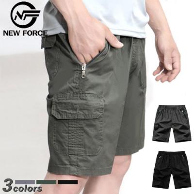 NEW FORCE 寬鬆舒適多口袋休閒工作短褲-軍綠