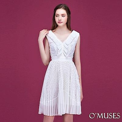 V領雪紡拼接蕾絲洋裝-OMUSES