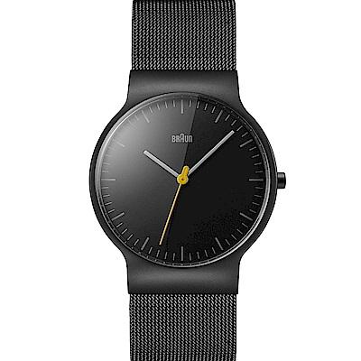 BRAUN德國百靈 極簡超薄設計 不鏽鋼編織石英錶 –黑色/38mm