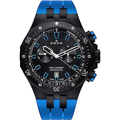 EDOX Delfin 水上冠軍專業200米防水計時碼錶-黑x藍/43mm