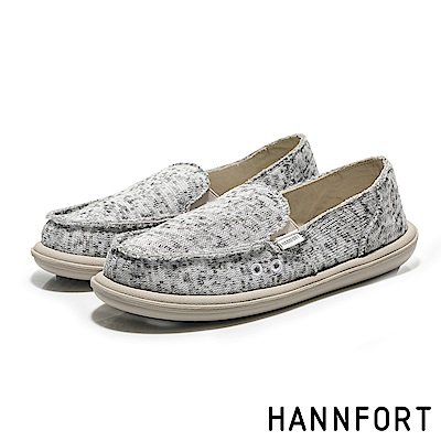 HANNFORT COZY針織雪花氣墊懶人鞋-女-雪花灰