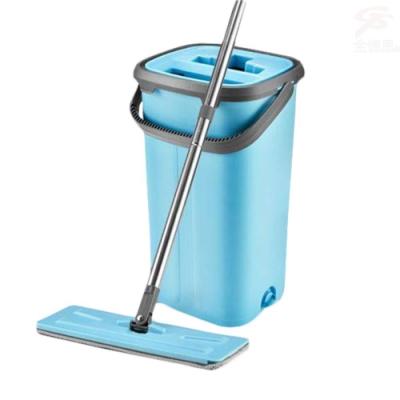金德恩 一組免碰水懶人拖把超值組附雙槽水桶/拖把/清潔布