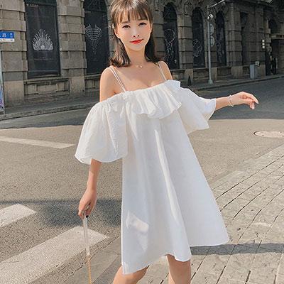 美背吊帶一字領荷葉袖洋裝 (共二色)-Kugi Girl