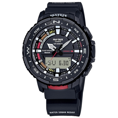 PRO TREK CASIO 卡西歐 釣魚錶 雙顯藍牙連線 潮汐顯示 定時器 防水 手錶-黑色/50mm