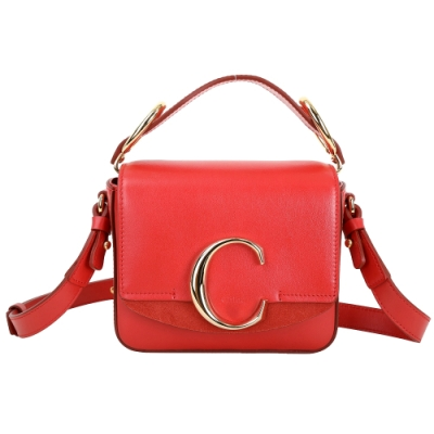 CHLOE MINI CHLOE C 小牛皮麂皮拼接手提斜背包(紅色)