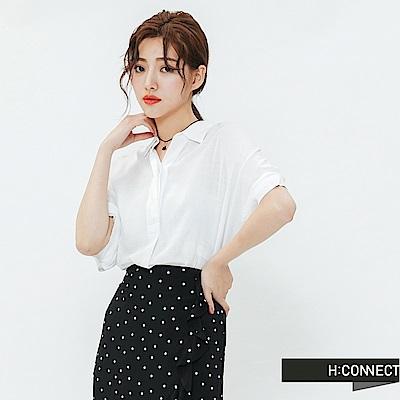 H:CONNECT 韓國品牌 女裝-半開襟短袖亞麻襯衫-白