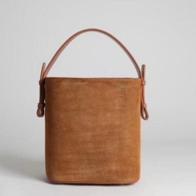 米蘭精品 手提包真皮肩背包-簡約純色磨砂皮水桶女包情人節生日禮物73tn1