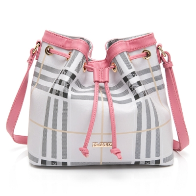 PLAYBOY-  抽繩水桶包 風韻兔格系列 -粉色