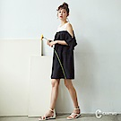 CANTWO蕾絲拼接荷葉雪紡簡約洋裝-共兩色