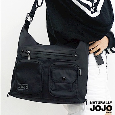 【NATURALLY JOJO】尼龍口袋真皮肩背包(黑)