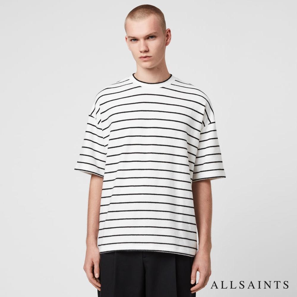 ALLSAINTS TOBIAS 刷毛條紋寬鬆純棉短袖T恤-白黑條