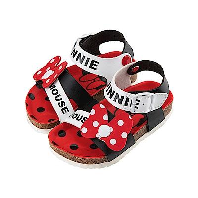 迪士尼 米妮 可愛蝴蝶結造型 魔鬼氈涼鞋-白紅