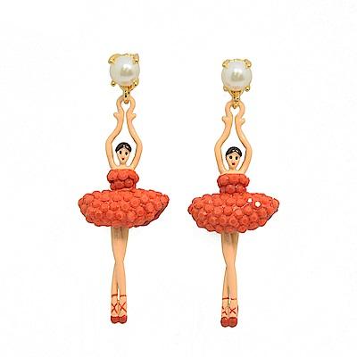 Les Nereides 優雅芭蕾舞女孩系列 白色珍珠橘色水鑽舞者耳針式耳環