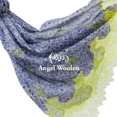 【ANGEL WOOLEN】印花蕾絲印度胎羊毛手工披肩(共三色)
