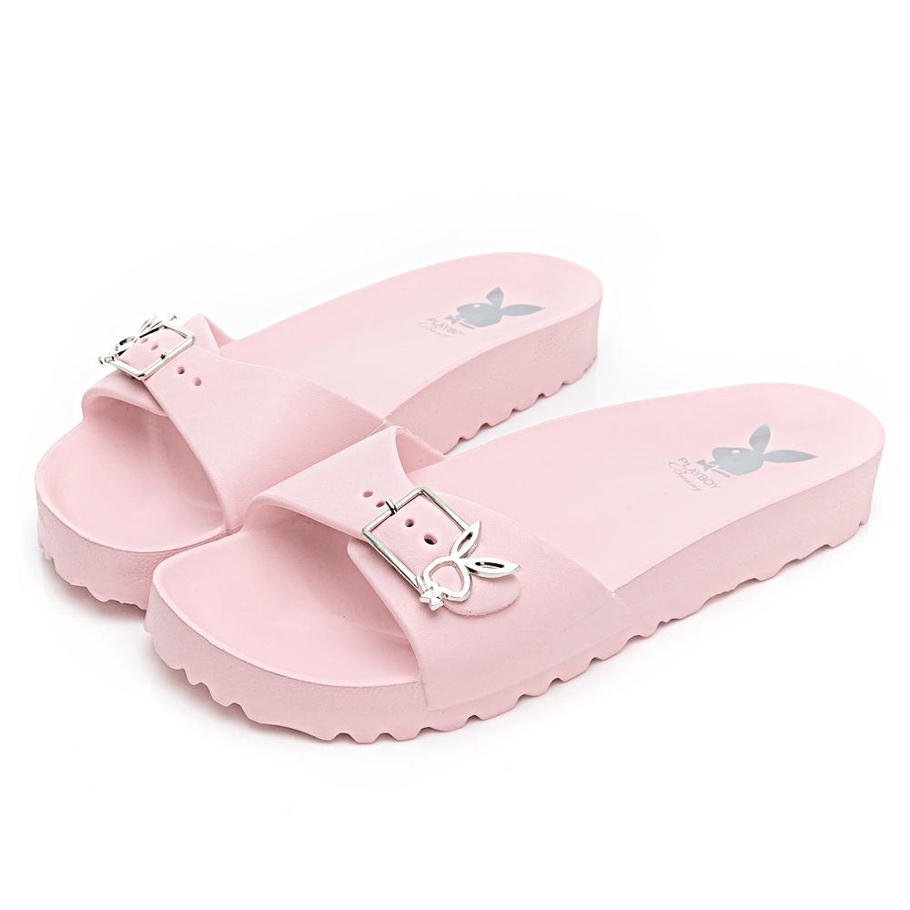 PLAYBOY 簡約輕量單釦休閒拖鞋-粉-YT61399