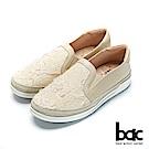 bac周末輕旅行 - 立體蕾絲編織條懶人休閒鞋-米色