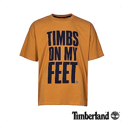 Timberland 男款橘褐色字母印花T恤 A1YEM