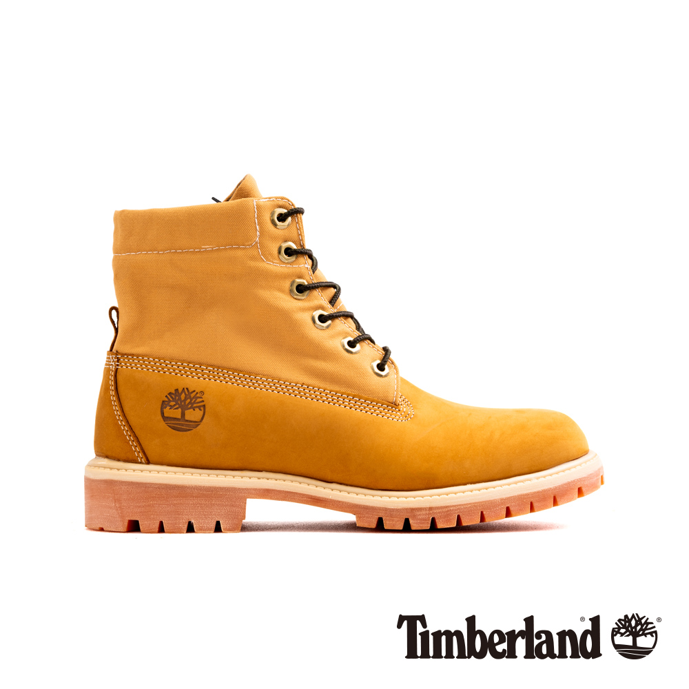 Timberland 男款小麥色磨砂革迷彩圖案反摺靴|A21B1