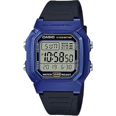 CASIO 實用潔簡10年電力數位電子錶-藍X黑(W-800HM-2A)/26mm