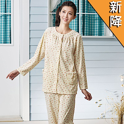 華歌爾睡衣-天鵝絨 M-L 長袖睡衣褲裝(黃)舒適睡衣-柔膚手感