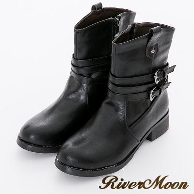 River&Moon大尺碼-帥氣小V口繞環皮帶騎士機車靴-黑