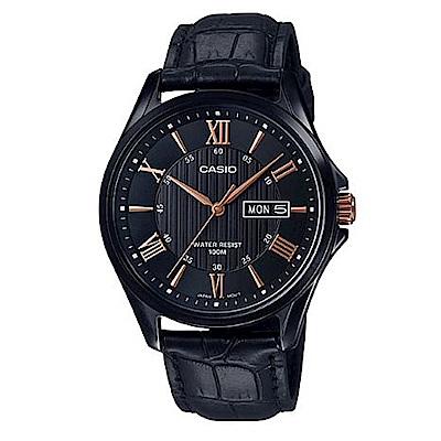 CASIO 高雅時尚經典黑混搭羅馬玫瑰金字休閒皮帶錶(MTP-1384BL-1A2)/47