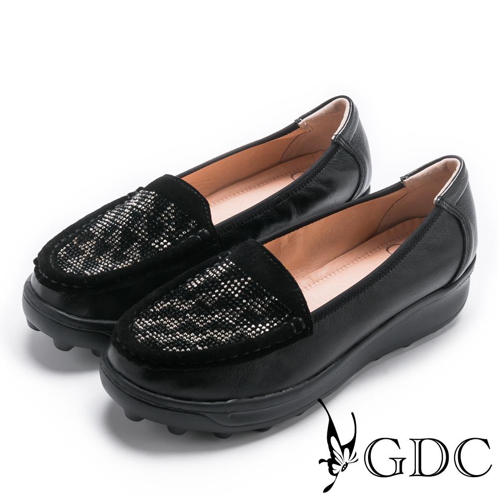 GDC-真皮秋冬閃爍水鑽舒適厚底休閒鞋-黑色