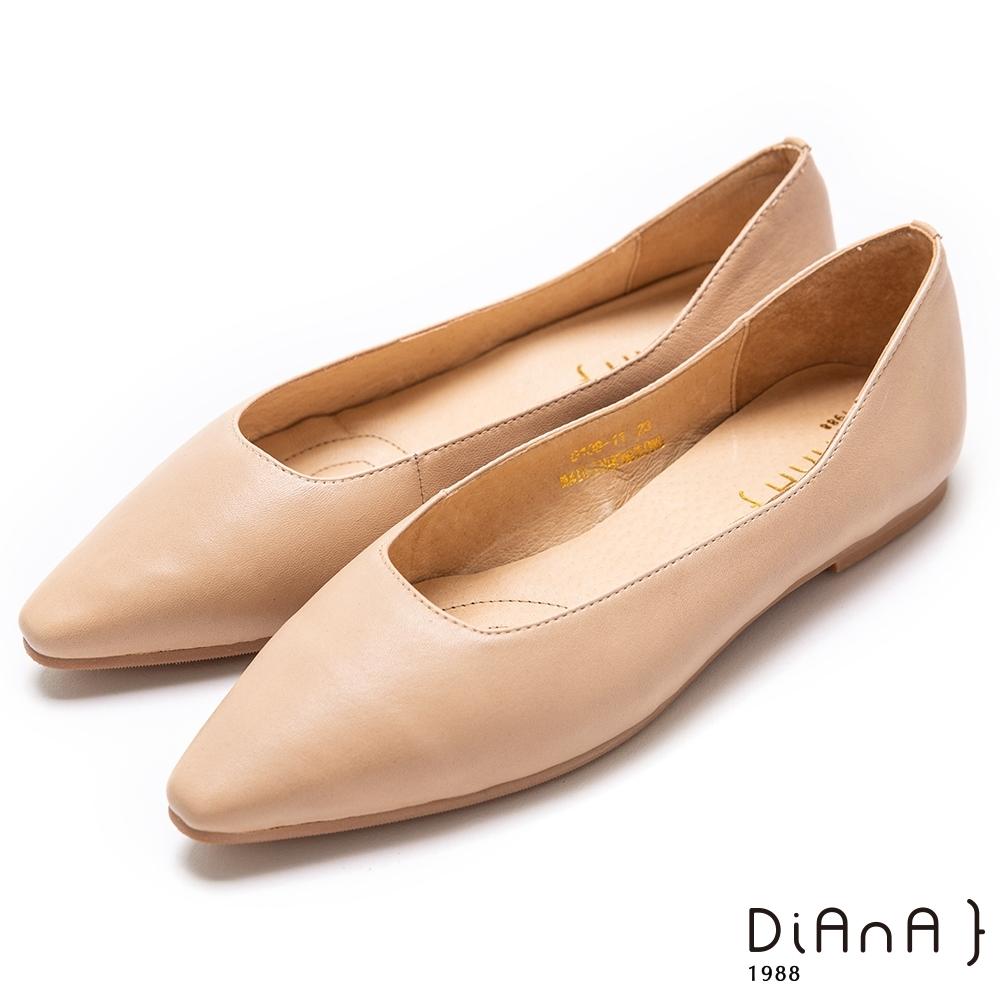 DIANA 水染羊皮素色平底方尖頭休閒鞋-樂活優雅–米白